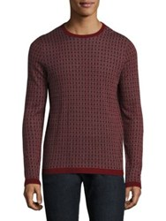 Saks Fifth Avenue Square Patterned Silk And Cashmere Jacquard Sweater Red