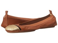 Yosi Samra Sybil Soft Leather Fold Up Flat With Scaled Specchio Captoe Dark Whiskey Gold Women's Flat Shoes Brown