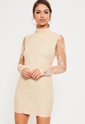 Missguided Nude Lace Embroidered Bodycon Dress