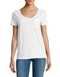Lord And Taylor Petite Solid Scoopneck Cotton Slub Tee White