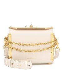 Alexander Mcqueen Box 19 Leather Shoulder Bag White