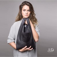 Judtlv Soft Leather Tote Bag Perforated Black