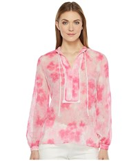 Ellen Tracy Placket Detail Blouse Floral Pink Tulip Women's Blouse