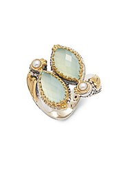 Konstantino Amphitrite 3Mm Freshwater Pearl Semiprecious Stone 18K Yellow Gold And Sterling Silver Cluster Ring
