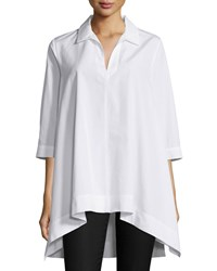 Max Mara Oversized 3 4 Sleeve High Low Popover Blouse White Size 12