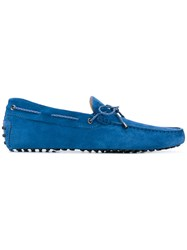 Tod's Gommini Loafers Men Leather Suede Rubber 8.5 Blue