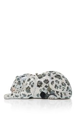 Judith Leiber Couture Snow Leopard Wildcat Clutch Silver