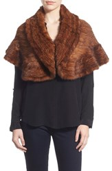 Women's La Fiorentina Genuine Mink Fur Ruffled Shrug