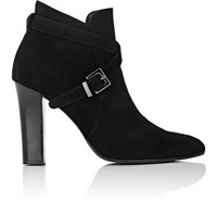 Barneys New York Women's Crisscross Strap Suede Ankle Boots Black