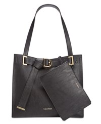 Calvin Klein Faux Leather Pebble Tote With Pouch Black Black