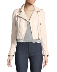 Lamarque Gigi Cropped Lamb Leather Moto Jacket Pink