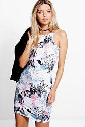 Boohoo Oriental Floral Racer Bodycon Dress Multi