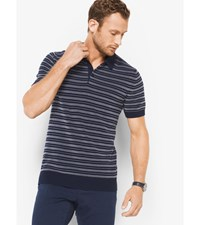 Striped Cotton Polo Sweater Midnight