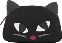Lulu Guinness Kooky Cat Crescent Large Pouch Black