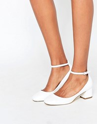 Miss Kg Amber White Mid Heeled Ankle Strap Shoes White