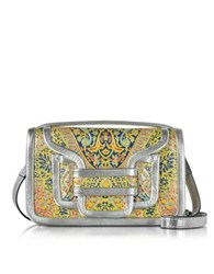 Pierre Hardy Alpha Multi Yellow And Silver Metallic Leather Crossbody Clutch Multicolor