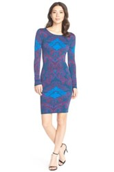 Felicity And Coco Jacquard Sweater Body Con Dress Blue