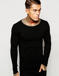 Asos Extreme Muscle Fit Long Sleeve T Shirt In Black With Boat Neck