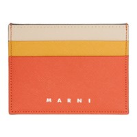 Marni Red And Orange Colorblock Card Holder