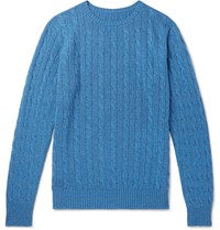 Anderson And Sheppard Cable Knit Cashmere Sweater Blue