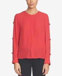 Cece Split Sleeve Bow Blouse Radiant Red
