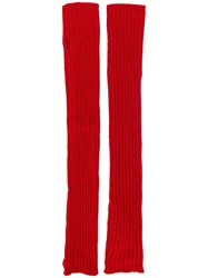Rick Owens Fingerless Gloves Red