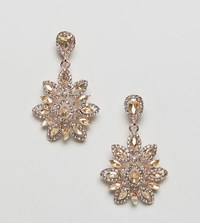 True Decadence Pink Statement Earrings Rose Gold