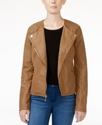 Guess Geonna Quilted Faux Leather Moto Jacket Rugby Tan Multi