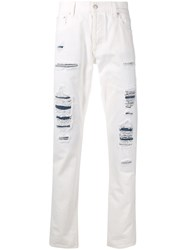 Alexander Mcqueen Distressed Skinny Jeans White