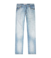 Valentino Rockstud Untitled Bleached Jeans Male Blue