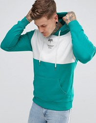 Hype Hoodie In Teal With Panel Green