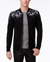 Inc International Concepts Men's Zip Front Embroidered Bomber Jacket Only At Macy's Deep Black