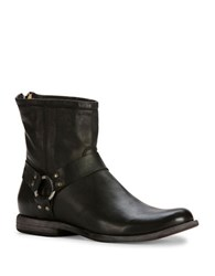 Frye Phillip Harness Leather Boots Black