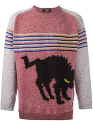 Fendi Intarsia Knit Marled Jumper Pink And Purple