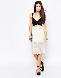 Motel Rose Katcha Midi Skirt In Cream Lace Cream