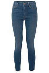 Mother The Looker Frayed High Rise Skinny Jeans Mid Denim