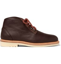 Loro Piana Aspen Walk Shearling Lined Full Grain Leather Boots Chocolate