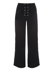 Jane Norman Lace Up Wide Leg Trousers Nearly Black