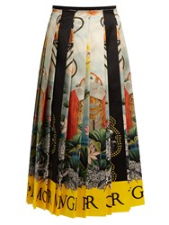 Gucci Elephant And Waterlily Print Pleated Satin Skirt Multi