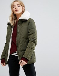 New Look Faux Shearling Lined Padded Jacket Khaki Green
