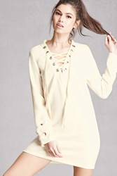 Forever 21 Lace Up Sweater Knit Dress Cream