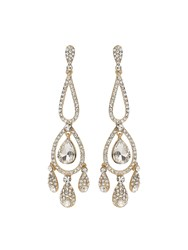 Mikey Long Eclipse Crystal Drop Earring Gold