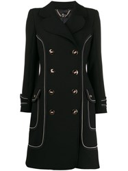 Elisabetta Franchi Contrast Piping Double Breasted Coat 60