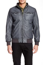 X Ray Fleece Lined Faux Leather Jacket Gray