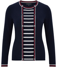 Viyella Nautical Stripe 2 In 1 Cardigan Navy