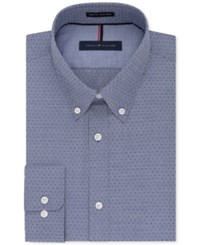 Tommy Hilfiger Men's Big And Tall Classic Fit Non Iron Night Blue Geo Print Dress Shirt