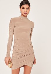 Missguided Nude Slinky High Neck Ruched Bodycon Dress Taupe