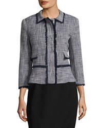 Ivanka Trump Tweed Blazer Navy Ivory