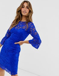 Paper Dolls Lace Dress With Fluted Sleeves Blue