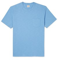 Faherty Slub Cotton Jersey T Shirt Blue
